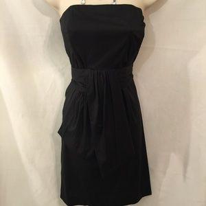 Banana Republic Black Pleated Strapless Dress LBD